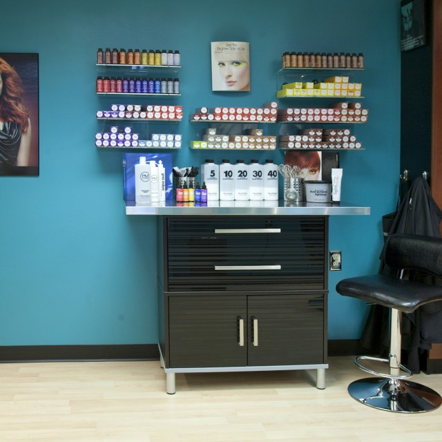 salon hair product display